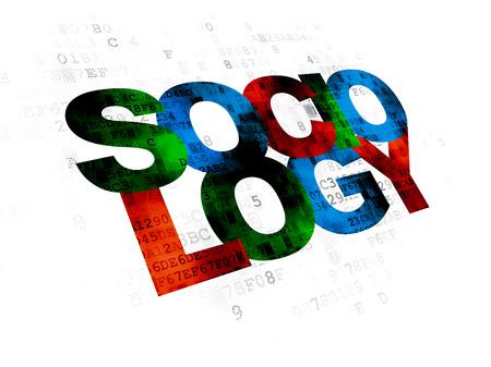 sociologia: El estudio de concepto: Pixelated multicolor texto Sociología en el fondo digital