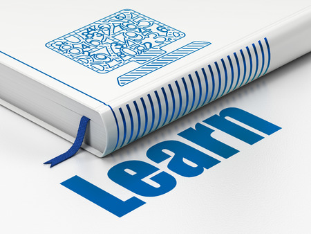 learning icon: Learning concept: closed book with Blue Computer Pc icon and text Learn on floor, white background, 3d render Stock Photo