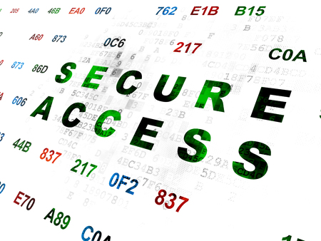 hexadecimal: Privacy concept: Pixelated green text Secure Access on Digital wall background with Hexadecimal Code Stock Photo