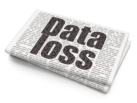 data loss: Data concept: Pixelated black text Data Loss on Newspaper background