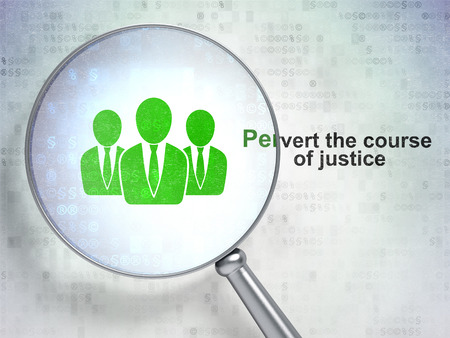 pervert: Law concept: magnifying optical glass with Business People icon and Pervert the course Of Justice word on digital background Stock Photo