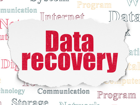 data recovery: Data concept: Painted red text Data Recovery on Torn Paper background with  Tag Cloud