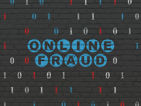 fraud: Protection concept: Painted blue text Online Fraud on Black Brick wall background with Binary Code