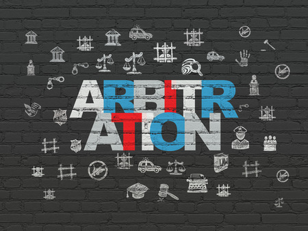 arbitration: Law concept: Painted multicolor text Arbitration on Black Brick wall background with  Hand Drawn Law Icons