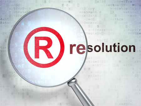 r regulation: Law concept: magnifying optical glass with Registered icon and Resolution word on digital background