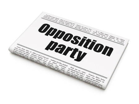 opposition: Political concept: newspaper headline Opposition Party on White background, 3d render