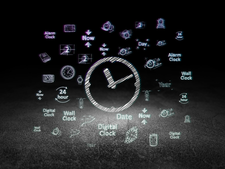 urban planning: Timeline concept: Glowing Clock icon in grunge dark room with Dirty Floor, black background with  Hand Drawing Time Icons