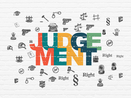 judgement: Law concept: Painted multicolor text Judgement on White Brick wall background with  Hand Drawn Law Icons