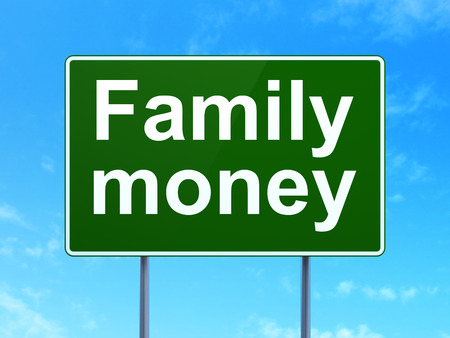highway sign: Money concept: Family Money on green road highway sign, clear blue sky background, 3d render Stock Photo