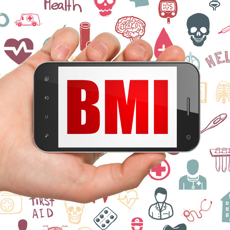 bmi: Medicine concept: Hand Holding Smartphone with  red text BMI on display,  Hand Drawn Medicine Icons background