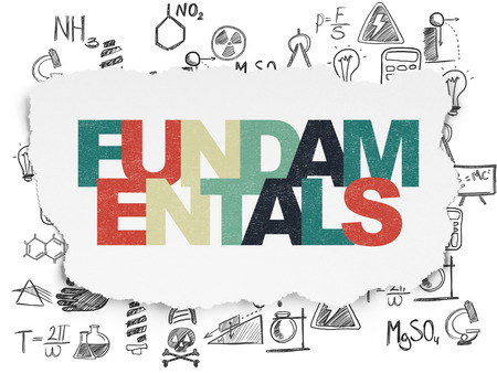 fundamentals: Science concept: Painted multicolor text Fundamentals on Torn Paper background with  Hand Drawn Science Icons