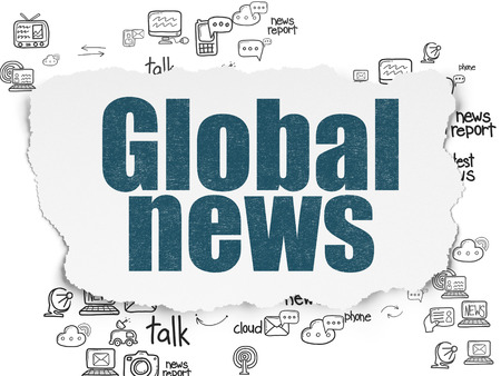 global: News concept: Painted blue text Global News on Torn Paper background with Scheme Of Hand Drawn News Icons Stock Photo