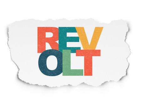 revolt: Politics concept: Painted multicolor text Revolt on Torn Paper background Stock Photo