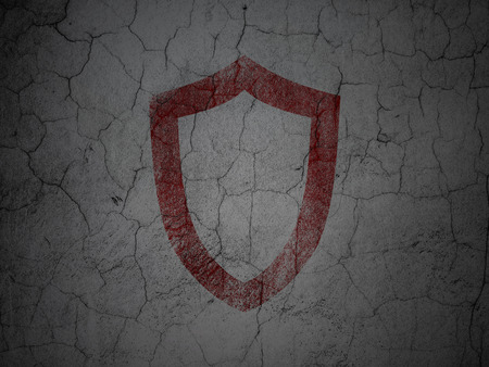 information age: Security concept: Red Contoured Shield on grunge textured concrete wall background