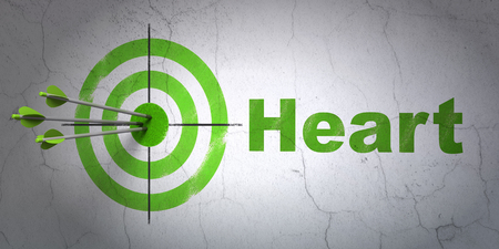 Success Healthcare concept: arrows hitting the center of target, Green Heart on wall background Stock Photo