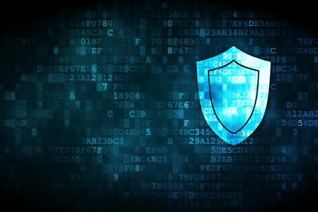 secure data: Security concept: pixelated Shield icon on digital background, empty copyspace for card, text, advertising