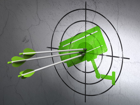 security icon: Success security concept: arrows hitting the center of Green Cctv Camera target on wall background