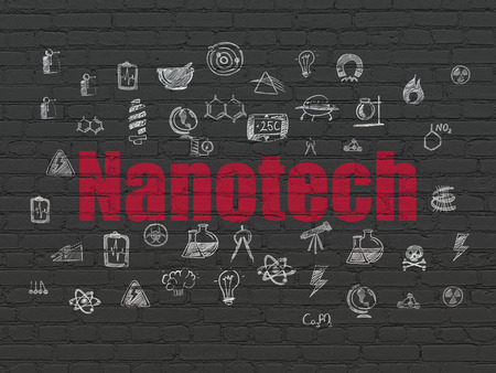 nanotech: Science concept: Painted red text Nanotech on Black Brick wall background with  Hand Drawn Science Icons
