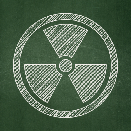 caution chemistry: Science concept: Radiation icon on Green chalkboard background