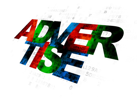 advertise: Advertising concept: Pixelated multicolor text Advertise on Digital background