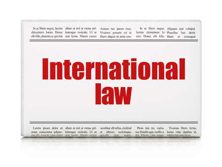 international law: Political concept: newspaper headline International Law on White background, 3d render