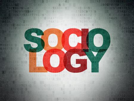 sociologia: Aprendizaje de concepto: Pintadas texto multicolor Sociología en el fondo papel digital Foto de archivo