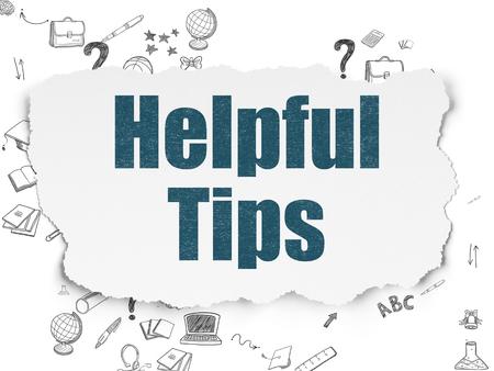ayudando: Concepto de la educación: Pintado de texto azules Consejos útiles sobre fondo de papel rasgado con el Esquema de dibujado a mano Iconos Educación