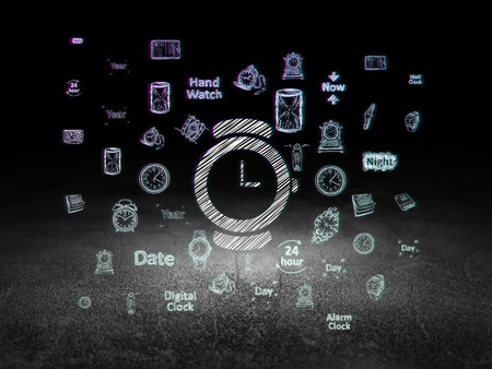 urban planning: Time concept: Glowing Watch icon in grunge dark room with Dirty Floor, black background with  Hand Drawing Time Icons Stock Photo
