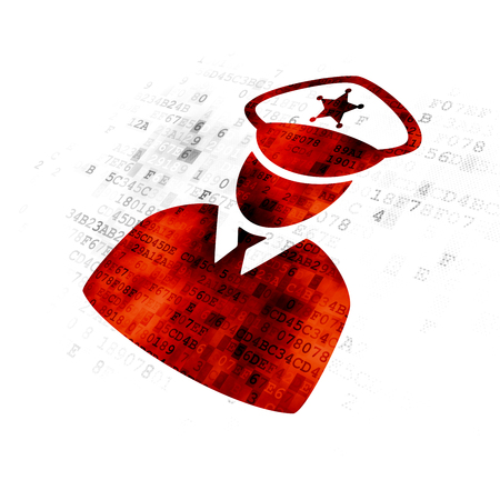 pixelated: Security concept: Pixelated red Police icon on Digital background Stock Photo