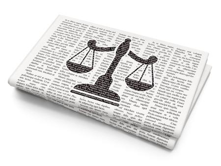 Law concept: Pixelated black Scales icon on Newspaper background Foto de archivo