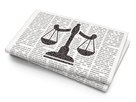 Law concept: Pixelated black Scales icon on Newspaper background Archivio Fotografico