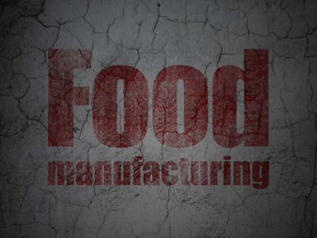 food industry: Industry concept: Red Food Manufacturing on grunge textured concrete wall background
