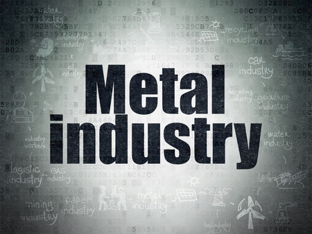 drawn metal: Manufacuring concept: Painted black text Metal Industry on Digital Paper background with  Scheme Of Hand Drawn Industry Icons