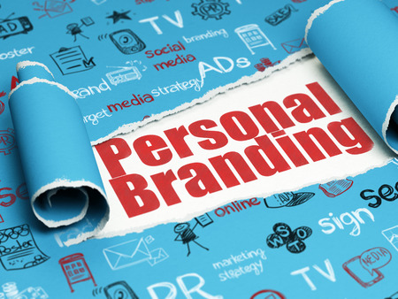 brand damage: Advertising concept: red text Personal Branding under the curled piece of Blue torn paper with  Hand Drawn Marketing Icons Stock Photo