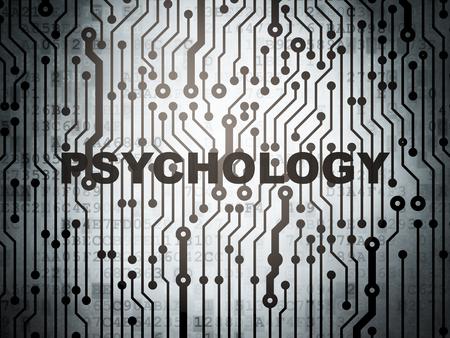 sicologia: El concepto de salud: placa de circuito con la palabra Psicología, 3d