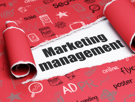 brand damage: Marketing concept: black text Marketing Management under the curled piece of Red torn paper with  Hand Drawn Marketing Icons Stock Photo