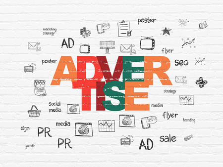advertise: Marketing concept: Painted multicolor text Advertise on White Brick wall background with  Hand Drawn Marketing Icons Stock Photo