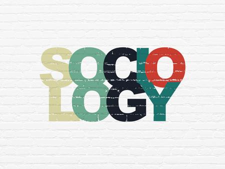 sociologia: Concepto de la educaci�n: pintado multicolor Sociolog�a de texto sobre fondo de pared de ladrillo blanca
