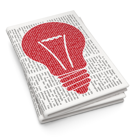 a solution tube: Finance concept: Pixelated red Light Bulb icon on Newspaper background Stock Photo