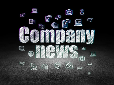 urgent announcement: News concept: Glowing text Company News,  Hand Drawn News Icons in grunge dark room with Dirty Floor, black background Stock Photo