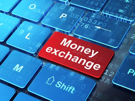 digital: Money concept: computer keyboard with word Money Exchange on enter button background, 3d render