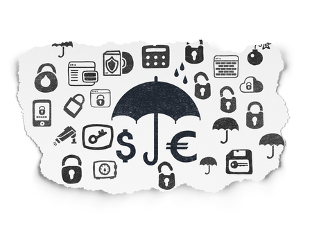 black money: Safety concept: Painted black Money And Umbrella icon on Torn Paper background with  Hand Drawn Security Icons