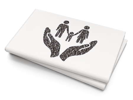 black family: Insurance concept: Pixelated black Family And Palm icon on Blank Newspaper background Stock Photo