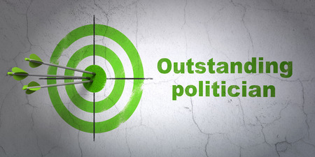 outstanding: Success politics concept: arrows hitting the center of target, Green Outstanding Politician on wall background Stock Photo