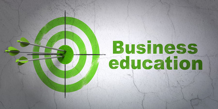 hitting a wall: Success Education concept: arrows hitting the center of target, Green Business Education on wall background