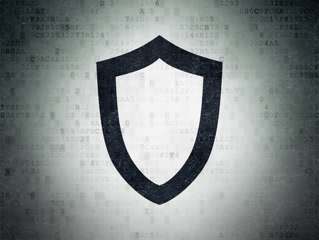 passkey: Security concept: Painted black Contoured Shield icon on Digital Paper background Stock Photo