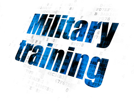 military: Learning concept: Pixelated blue text Military Training on Digital background