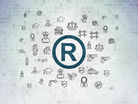 r regulation: Law concept: Painted blue Registered icon on Digital Paper background with  Hand Drawn Law Icons Stock Photo