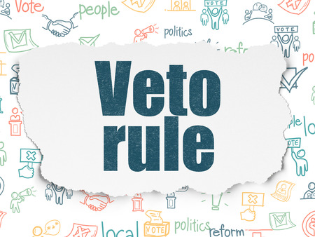 veto: Politics concept: Painted blue text Veto Rule on Torn Paper background with  Hand Drawn Politics Icons Stock Photo