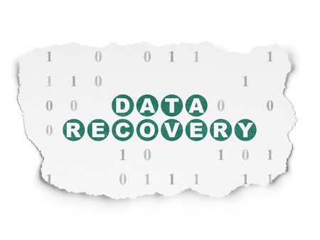 data recovery: Information concept: Painted green text Data Recovery on Torn Paper background with  Binary Code Stock Photo